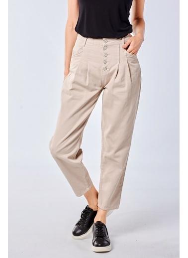 Coral  Düğmeli Parça Boya Pantolon Taş Kahve